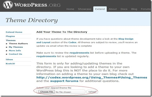 wordpress theme upload