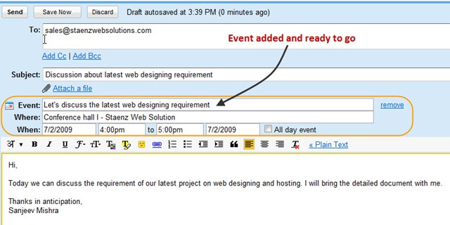 Schedule A Meeting Or Send An Invitation Thru Gmail