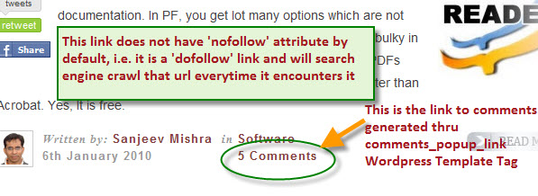 make comments_popup_link nofollow
