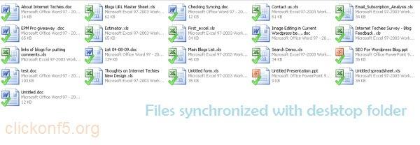 Desktop Folder synchronized with Google Docs and showing Google Docs Files