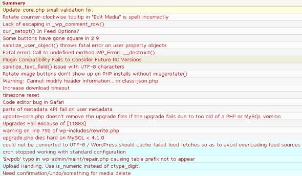 wordpress 2.9.1 fixed issues