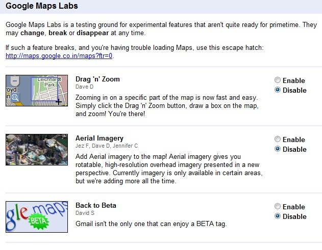 google maps labs new features