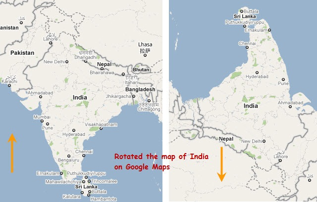 rotated map of india