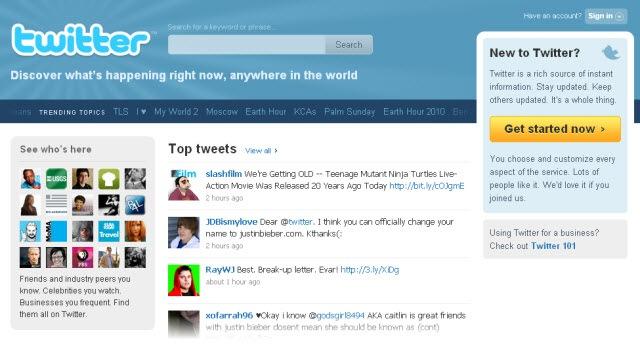 tampilan homepage Twitter