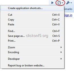 Create application shortcut in chrome