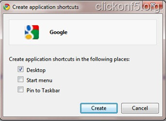 Application shortcut for Google homepage