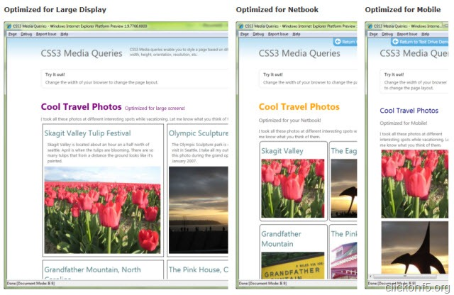 IE9 CSS3 Optimized View for Display Units