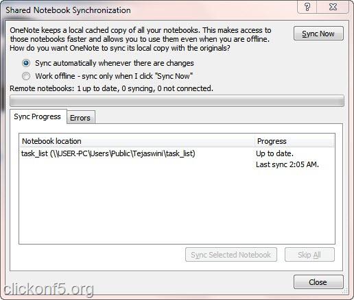 Syncronization Windows in Microsoft OneNote 2010