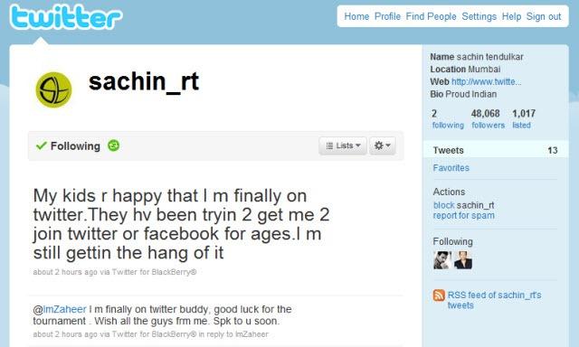 Sachin on Twitter