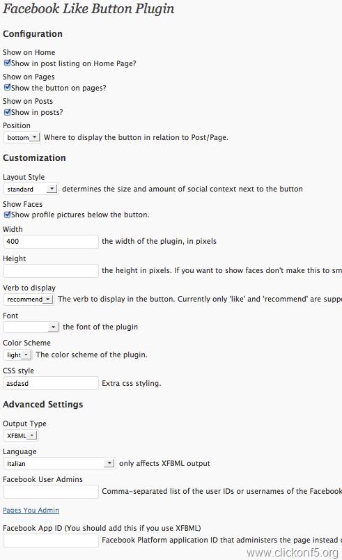 Facebook Like Button Plugin for WordPress