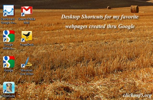 Webpage Shortcuts on Desktop created thru Google Chrome