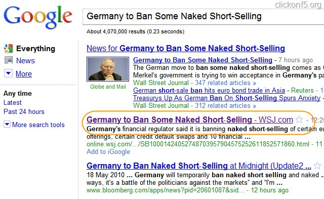 Google SERP for WSJ Article