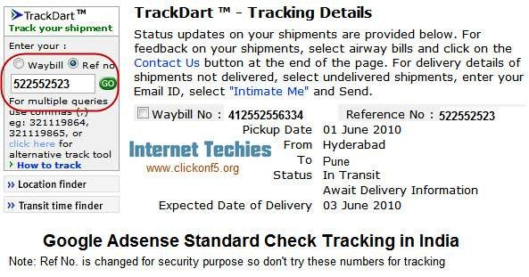 How To Track Google Adsense Standard Delivery Checks in India