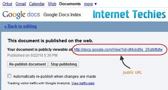How To Index Documents Of Google Docs On Search Engines - Public google docs