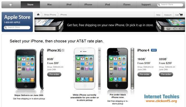 iPhone 4 pre-order page