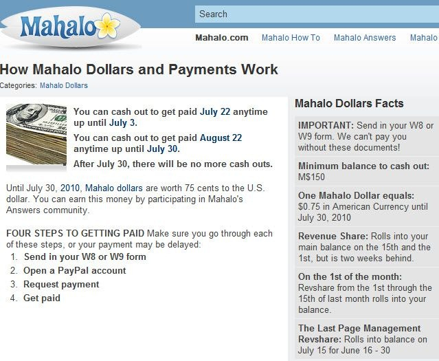 Get Paid for asking questions/answers on Mahalo