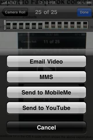 Current Export Options for Videos on iPhone 3G