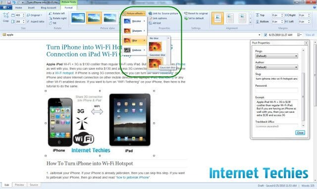 Windows Live Writer 2010 beta pictures properties