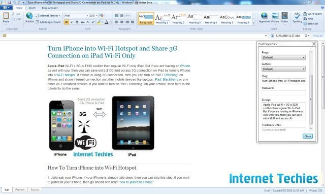 Windows Live Writer 2010 beta post properties