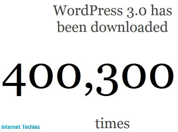 wordpress 3.0 downloaded more than 400K in just 2 days