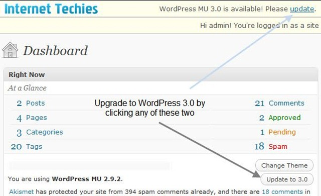 WordPress 3.0 upgrade option on WordPress MU dashboard