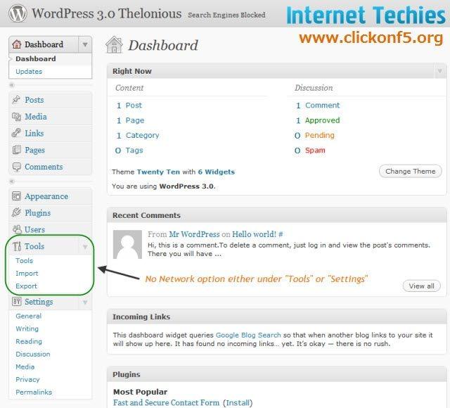 Default Dashboard of WordPress 3.0