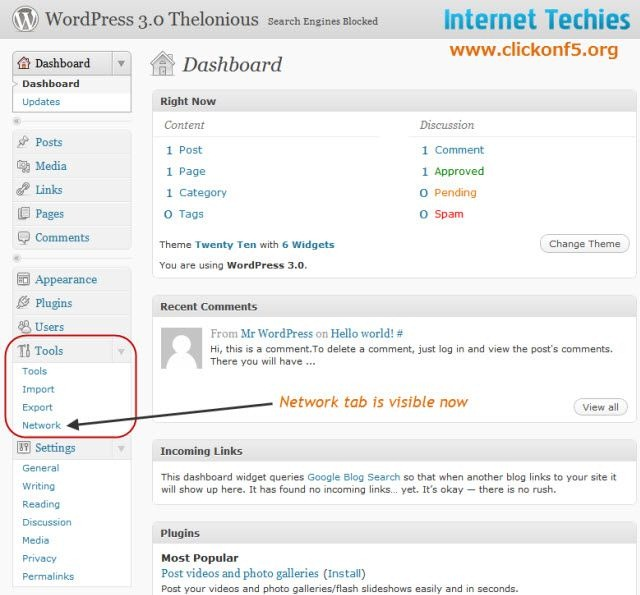 Network option visible on WordPress Dashboard under Tools