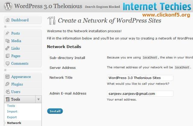 Network option on WordPress 3.0