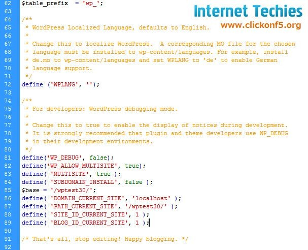 Code changes done for wp-config.php