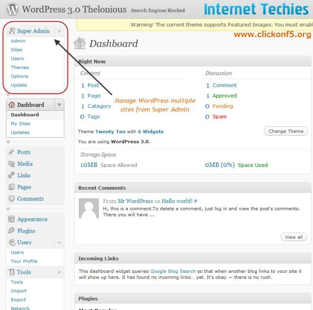 Super Admin option in WordPress 3.0