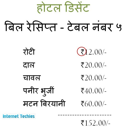 Indian Rupee Symbol in action