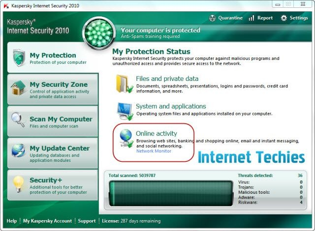 Kaspersky Internet Security Dashboard