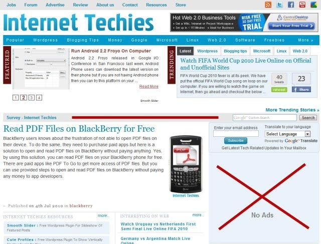 No Ads on Websites