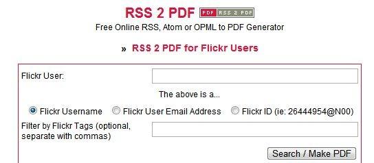 RSS 2 PDF for Flickr