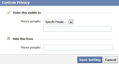 facebook places choose specific people