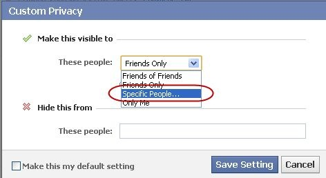 facebook specific people