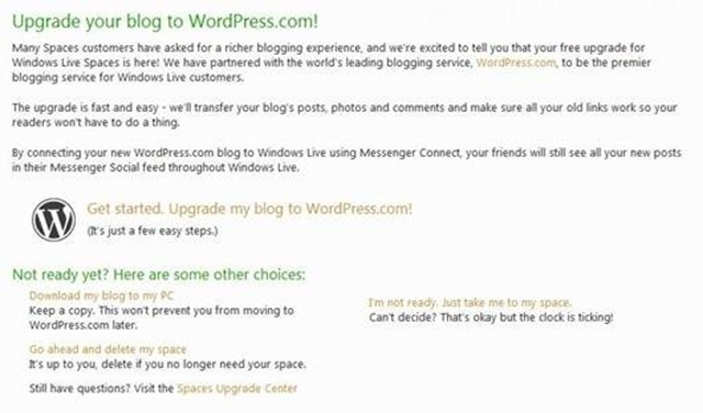 upgrade to WordPress