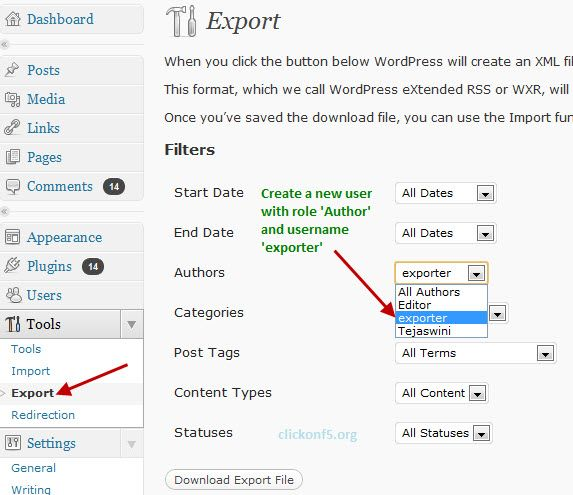 Export Single or Limited Posts from one WordPress Blog to