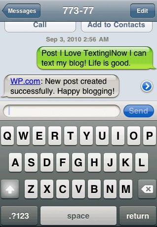 Send SMS to 77377 to Control WordPress com Blog