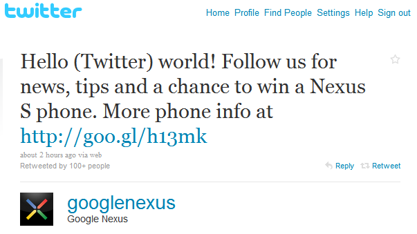 google nexus s twitter