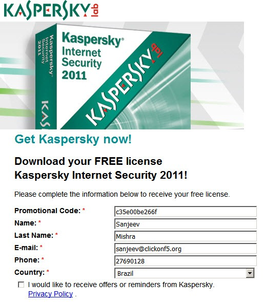 Promo Code to Download Kaspersky Internet Security 2011 One