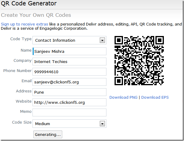 QR Code Generator for Website URL, Contact Details, Email ID
