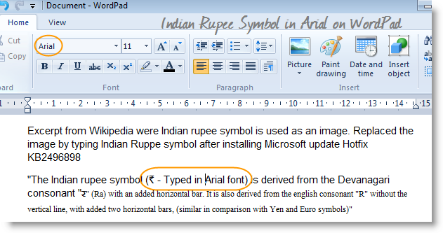 wordpad-indian-rupee-symbol