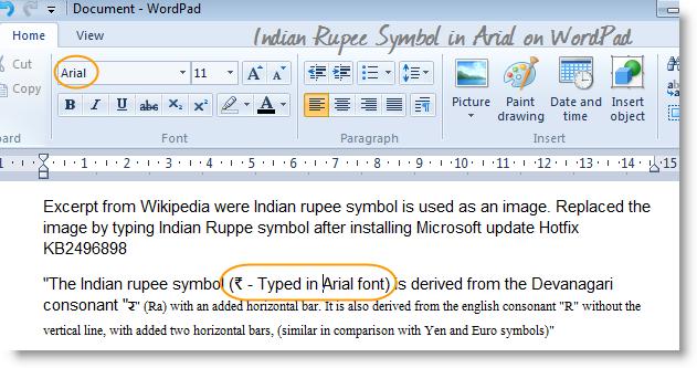 wordpad-indian-rupee-symbol