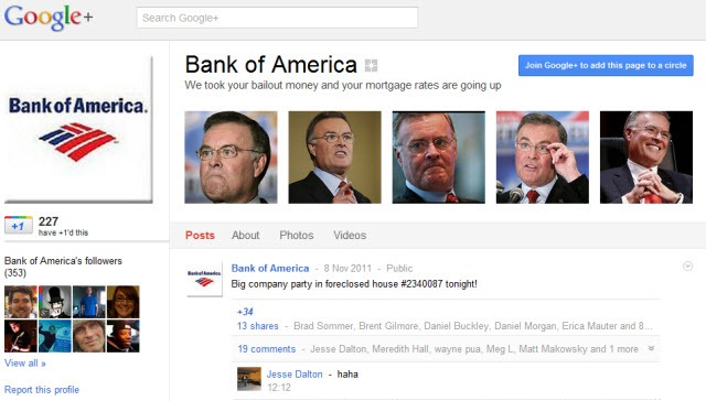 Bank of America - Fake Google  Page