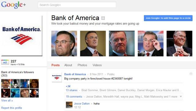 Bank of America - Fake Google  Page