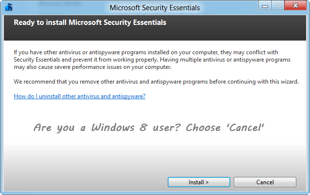 No need to install Microsoft Security Essentials on Windows 8