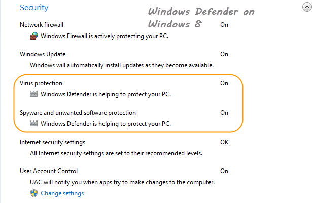 Windows 8 Security and Alert Page