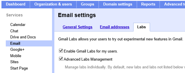 Enable Labs in Google Apps