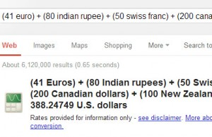 Addition of multiple currencies in US dollar - on Google